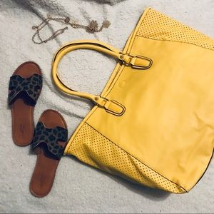 🐤 Canary Yellow Oversized Laser-cut Tote Bag
